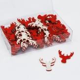 Weihnachten - Filzstreuer Hirschkopf creme-rot 3,5cm 72Stk