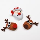 Weihnachten - Filzstreuer Rentier und Nikolaus selbstklebend 5,5cm 12Stk
