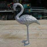 Flamingo Glimmer zum Stellen silber 29x19cm 1Stk