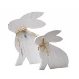 Hase aus Holz weiß in zwei Größen 1Stk