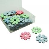 Holzblüten blau-grün-pink 4cm 72Stk