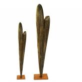 Holzherzen mit Fuß braun in zwei Größen 1Stk