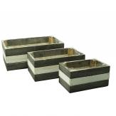 Holzkasten länglich grau-weiß 28x16cm 3er Set
