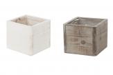 Holzkasten quadratisch weiß und grau 10x10cm 1Stk