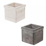 Holzkasten quadratisch mit Dekorand weiß und grau 13x13cm 1Stk