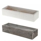 Holzkasten zum Bepflanzen in weiß oder grau 30x9x6 1Stk