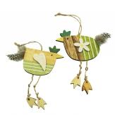 Huhn zum Hängen natur-grün 13x14cm 8Stk