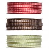 Karoband mit Drahtkante in drei Farben 06mm25m