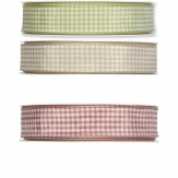 Vichy-Karoband mit Drahtkante 25mm25m in drei Farben