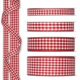 Karoband rot-weiß 25m verschiedene Breiten