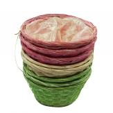 Korbset rund grün/rosa/natur Ø20cm 8Stk