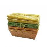 Korbset eckig natur/grün/apricot 25x12cm 6Stk