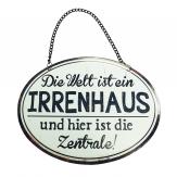 Metallschild Irrenhaus 17x3cm 3Stk