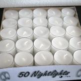 Nightlights Teelicht in Plastikhülle 50 Stück ***Achtung***  8Stunden Brenndauer und durchsichtiger PVC-Hülle