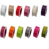 Organza Dekoband mit Drahtkante in vielen Farben 40mm20m
