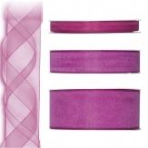 Dekoband Organza pink 50m in drei Größen
