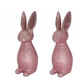 Osterhase Kunststoff rosa Glimmer 27x11x11cm 2Stk