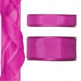 Satinband - Drahtkante pink 25m in zwei Größen