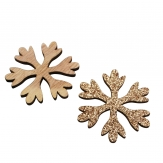 Schneeflocke natur/gold 4cm 72Stk