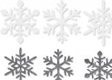 Weihnachten - Schneeflocken aus Filz in weiß und grau 6Stk
