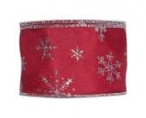 Weihnachtsband mit Silbersternen rot 60mm 10 m