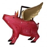 Schwein rot aus Metall als Gießkanne 23cm 1Stk