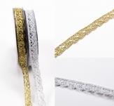 Spitzenband - gold oder silber 15mm10m