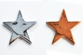 Sterne glänzend in kupfer oder silber 6,5cm 6Stk