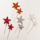 Weihnachten - Sterne mit Nadel diverse Farben  3+4 cm 48Stk