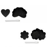 Tafelsticker schwarz Blume oder Herz  24Stk