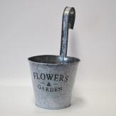 Flowers and Garden Topfhänger aus Zink rund zum Aufhängen 13x12cm