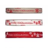 Weihnachtsband 15mm mit Schriftzug -Frohe Weihnachten-in 3 Farben