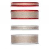 Weihnachtsband Leinenoptik in 2 Farben und 2 Breiten