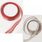 Weihnachtsband Organza mit Streifen und biegsamer Drahtkante in 2 Farben 25mm20m