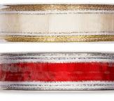Weihnachtsband mit Streifen  in zwei Farben 20mm25m