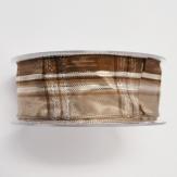 Weihnachtsband - Drahtkante - braun, beige, silber  40mm20m