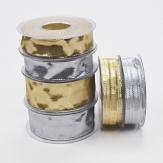 Weihnachtsband silber oder gold gerillt 20m in verschiedenen Breiten