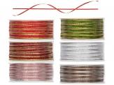 Weihnachtsband schmal mit feinem Lurexstreifen in 6 Farben