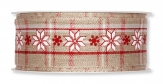 Weihnachtsband Sterne Norweger natur 35mm15m