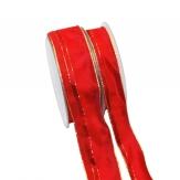 Weihnachtsband gestreift rot-gold 20m in zwei Breiten