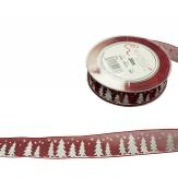 Weihnachtsband Tannenbaum bordeauxrot-weiß 25mm20m