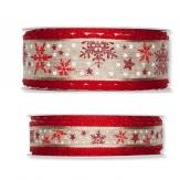 Weihnachtsband Schnee natur-rot in zwei Breiten 15m 1Stk
