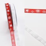Weihnachtsband Schneeflocke rot und weiß 10mm20m