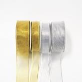 Weihnachtsband silber und gold 20m div. Breiten