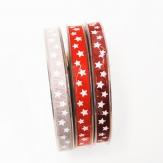 Weihnachtsband Sterne in drei Farben 10mm20m