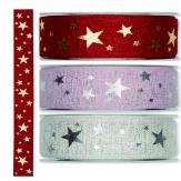 Weihnachtsband Sterne in verschiedenen Farben 35mm20m