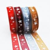 Weihnachtsband Sterne in verschiedenen Farben 25mm20m