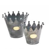 Zinktopf Krone grau in zwei Größen
