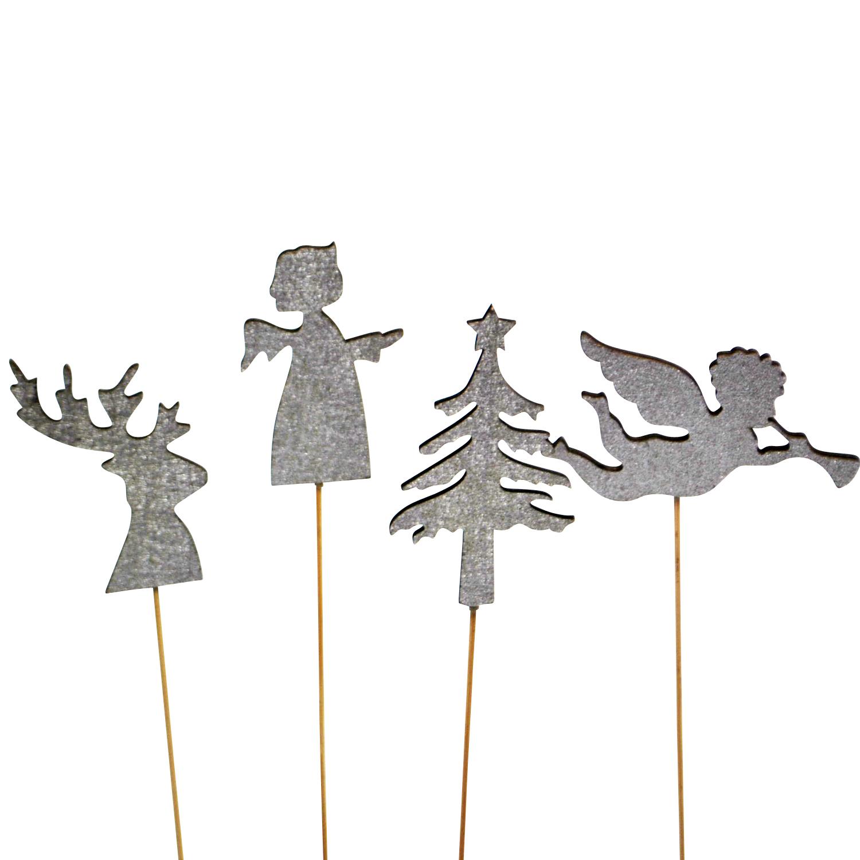 Blumenstecker Weihnachten silber Tanne, Hirsch, Engel 27cm 12Stk ...