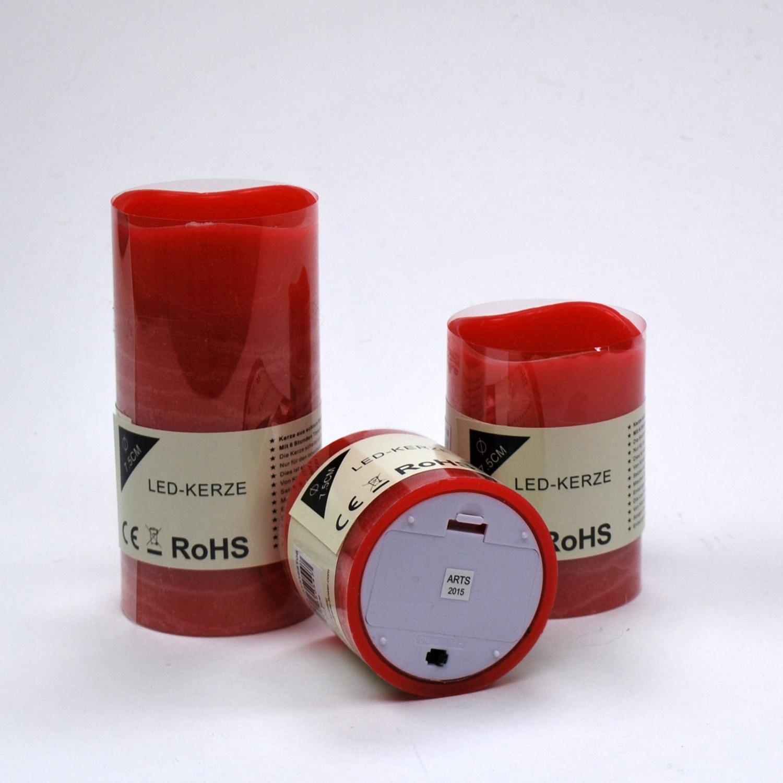 led kerze aus wachs rot batteriebetrieb timer in. Black Bedroom Furniture Sets. Home Design Ideas